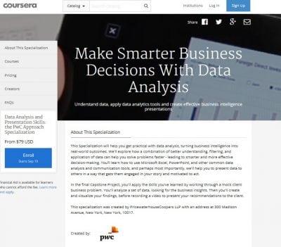 Curs PwC de analiza datelor pe Coursera