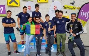 O echipă din România, în premieră pe podiumul unei competiții de paraclimbing